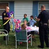 Police visit block party