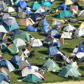 RAGBRAI tents in S.T. Morrison Park