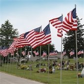 Flags in Oak Hill Cemetery