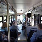 Inside of transit bus