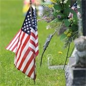 Flag at cemetery