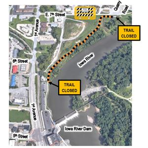 Iowa River Trail closure map
