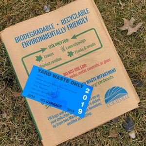 Yard waste bags and sticker