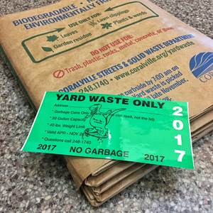 Yard waste bags and stickers